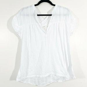 Lou & Grey White Split V-Neck Short Sleeved Blouse
